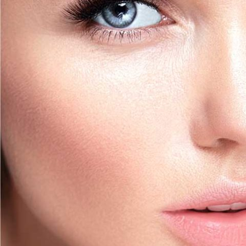 Closeup of a woman with beautifully-shaped eyebrows